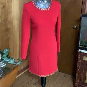 Michael kors red with gold trim beads dress